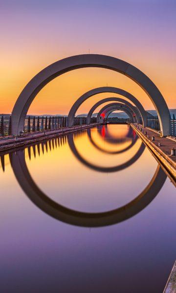 The Falkirk Wheel at sunset