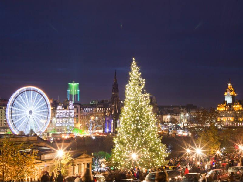 Christmas decorations in Edinburgh