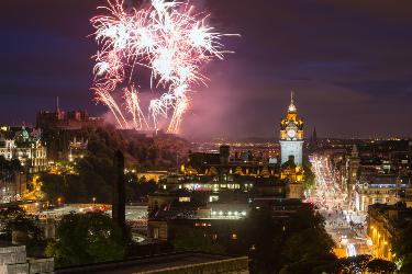 New Year's Eve fireworks over Edinburgh Castle