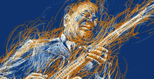 Edinburgh Blues Festival, illustration of a blues player