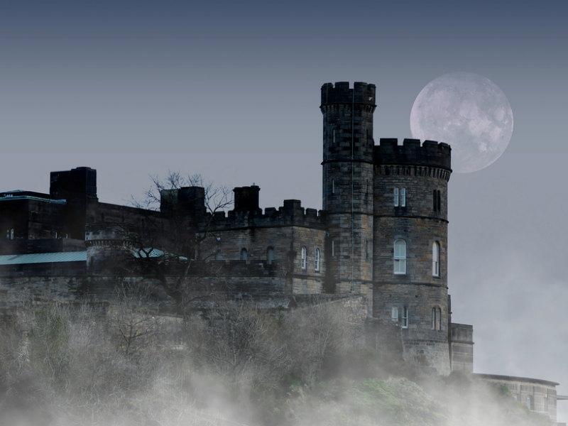 Edinburgh Castle covered in mist