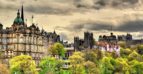 Skyline of Edinburgh's historic old town