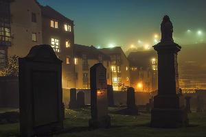 Graveyard outside Catlon Hill on a spooky night