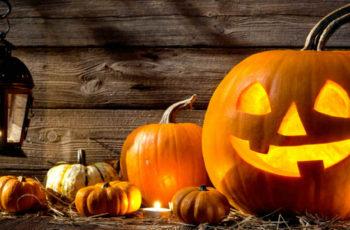 Halloween pumpkins and a spooky lantern