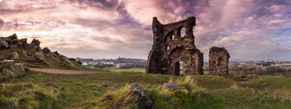 Ruins in Holyrood Park in Edinburgh