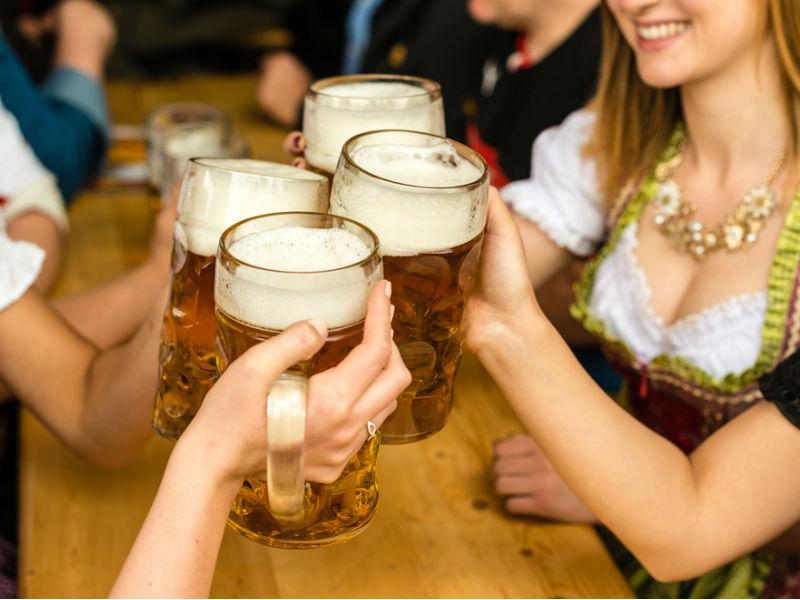 Traditional German women drinking German beer