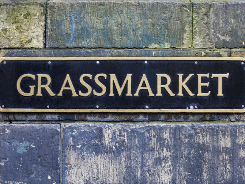 Grassmarket Street sign