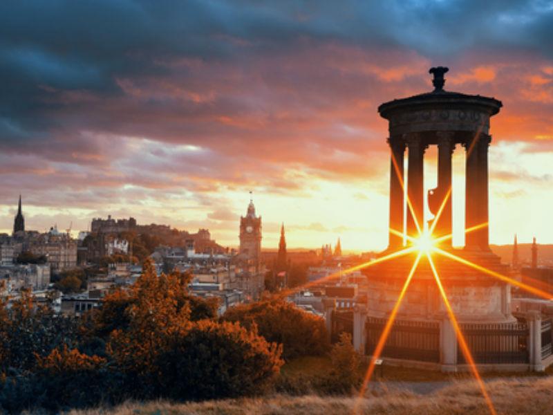 Sun setting over Calton Hill