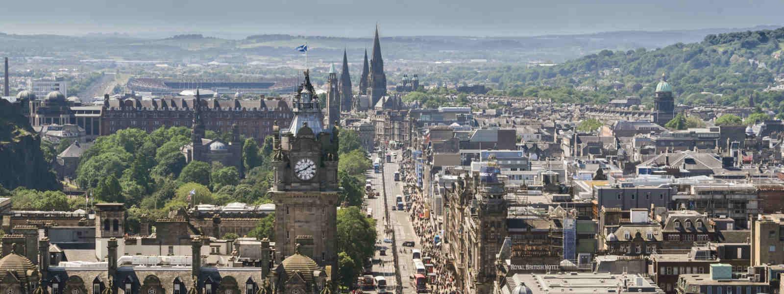 Panoramic view of Princes Street in Edinburgh