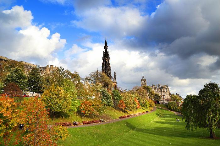 Autumn view of Princes Street Gardens in Edinburgh