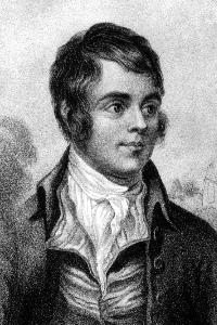 Black and white portrait of Robert Burns