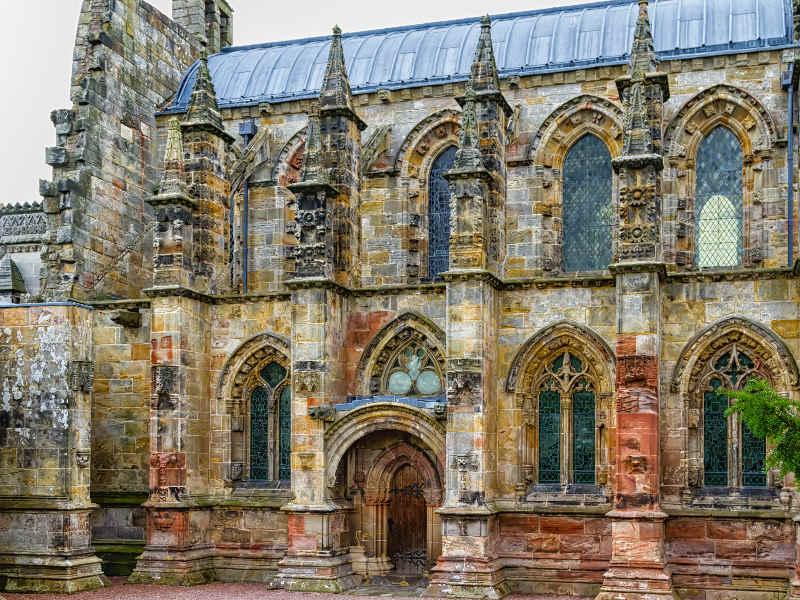 Entrance to Rosslyn Chappel in Edinburgh