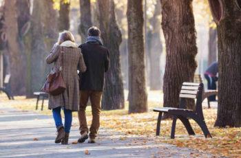 Elderly couple walking in Edinburgh