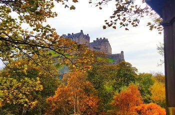 Edinburgh Castle surrounded by Autumn colours