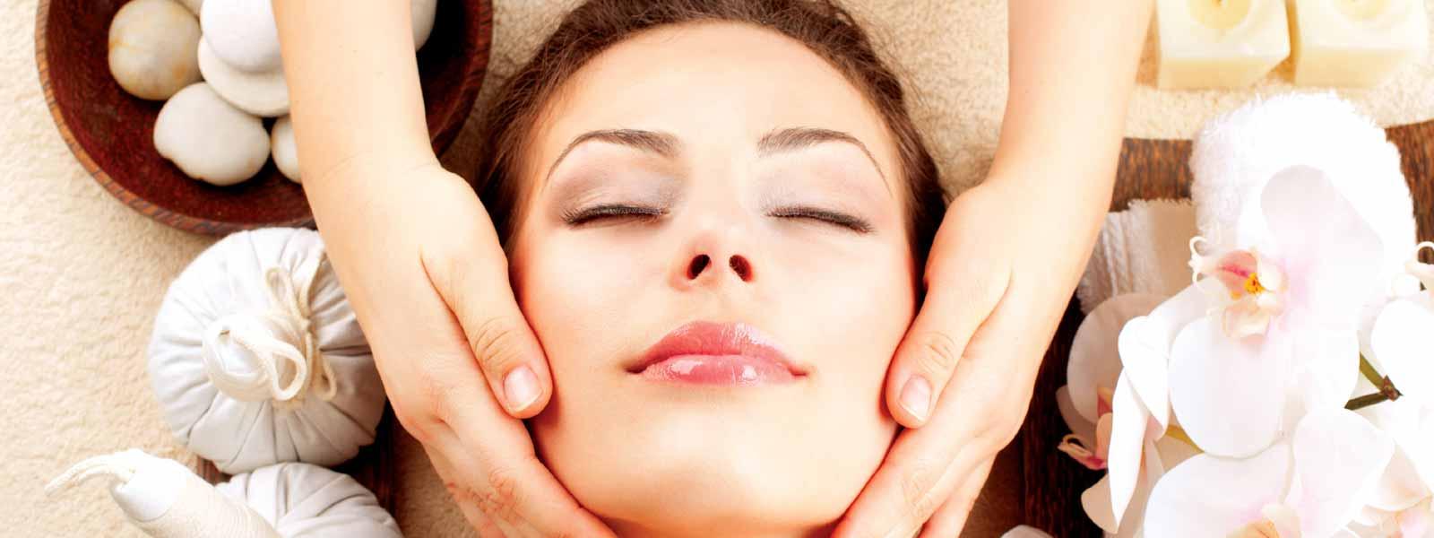 Woman having a facial in a spa