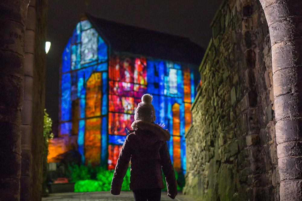 Girl at Castle of Light event at Edinburgh Castle