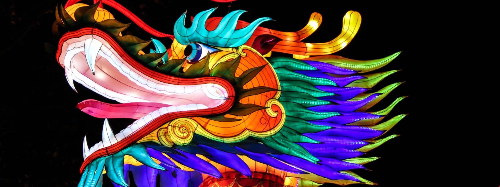 Colourful Chinese dragon lantern
