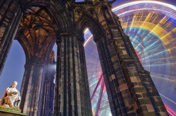 Scott Monument in Edinburgh with Christmas wheel