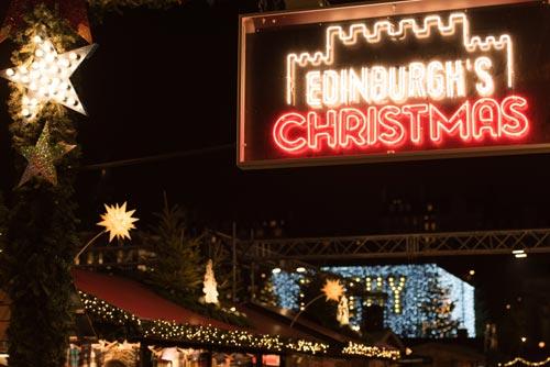 Edinburgh's Christmas market and neon sign