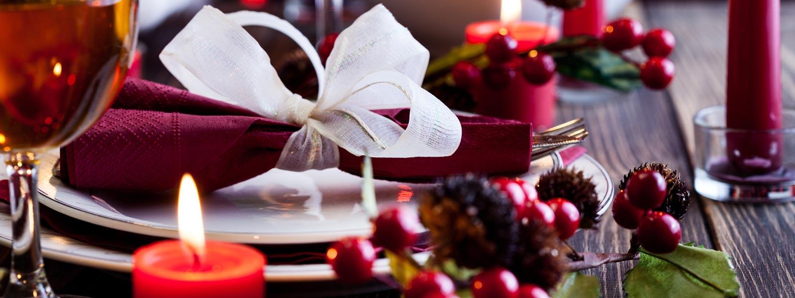 Table set for Christmas dinner in restaurant