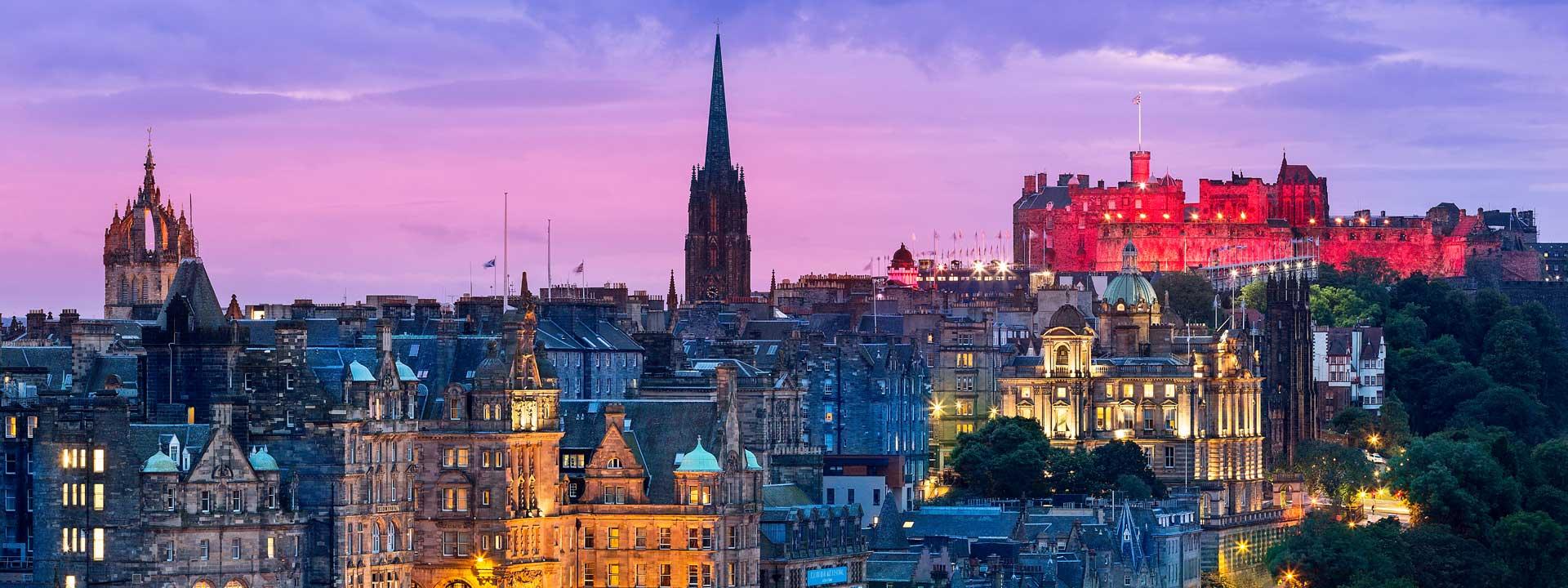 Edinburgh attractions lit up at night