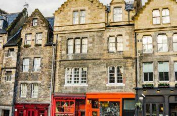 Colourful shop fronts of Edinburgh Grassmarket