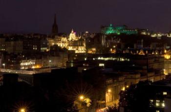 Edinburgh city skyline at night