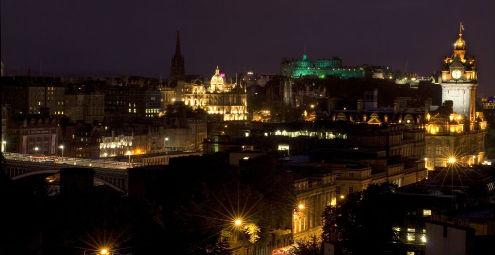 Edinburgh city sky line at night