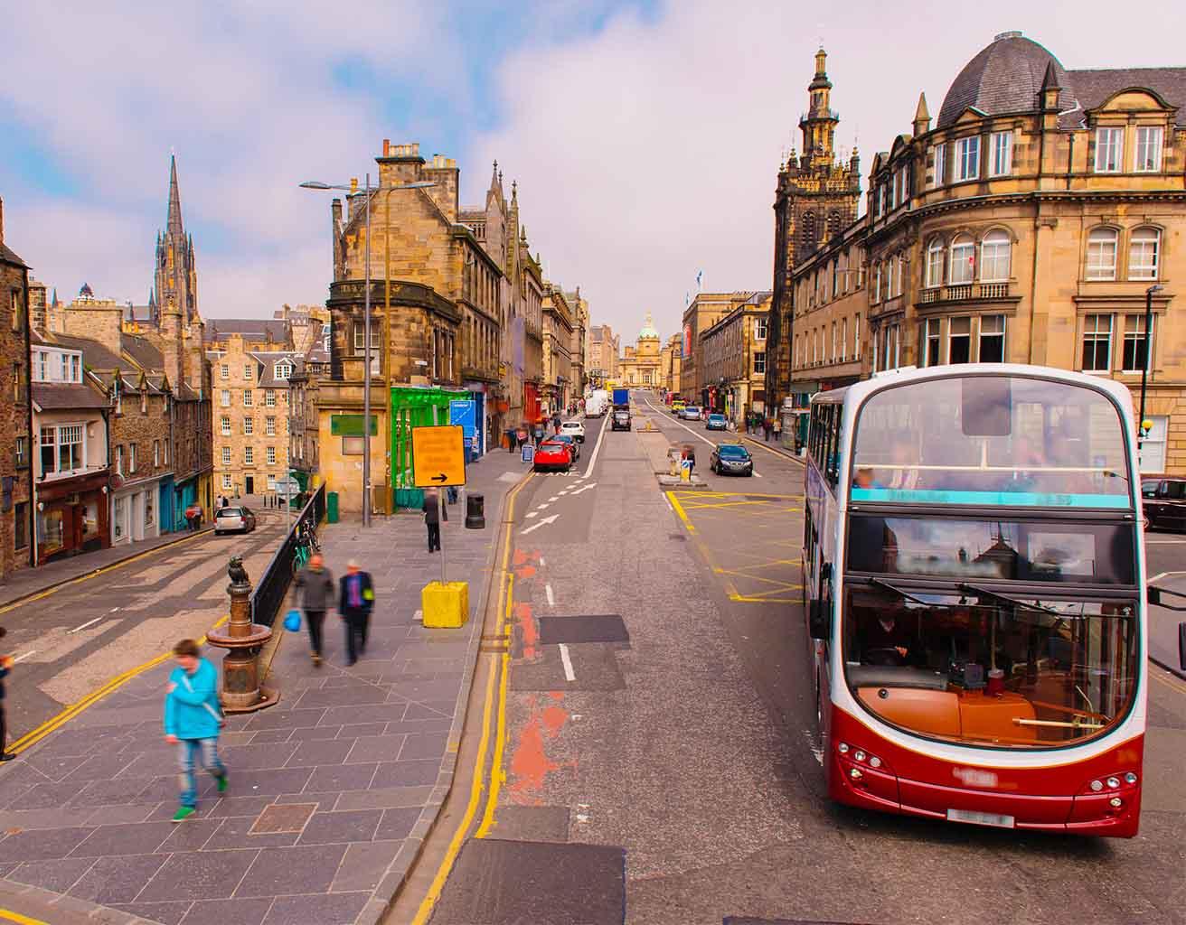 A Lothian Bus on George IV Bridge in Edinburgh
