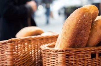 Freshly baked bread for sale on Edinburgh market