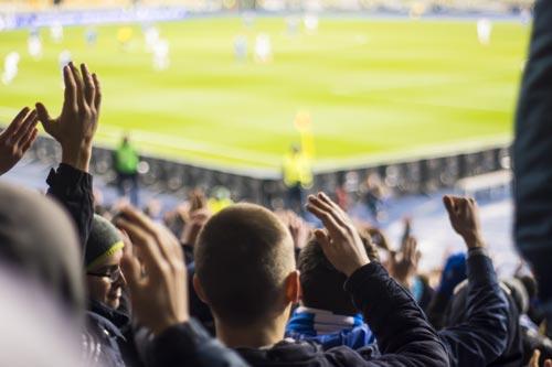 Spectators at a football match