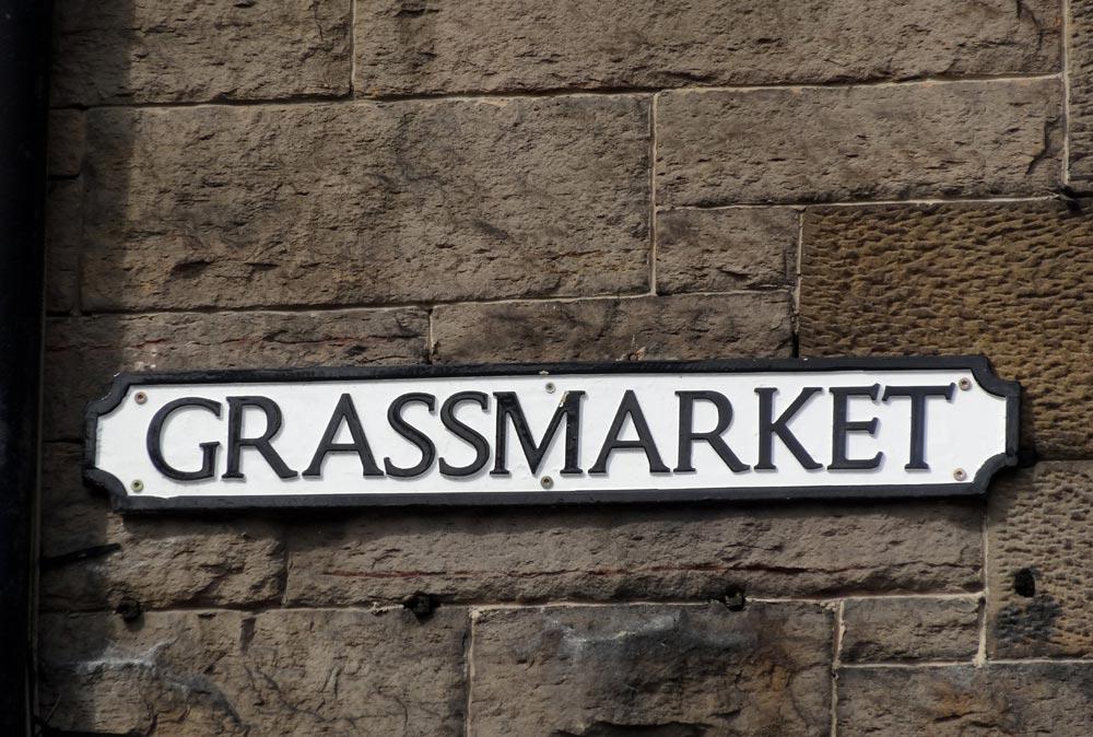 Grassmarket sign on a wall