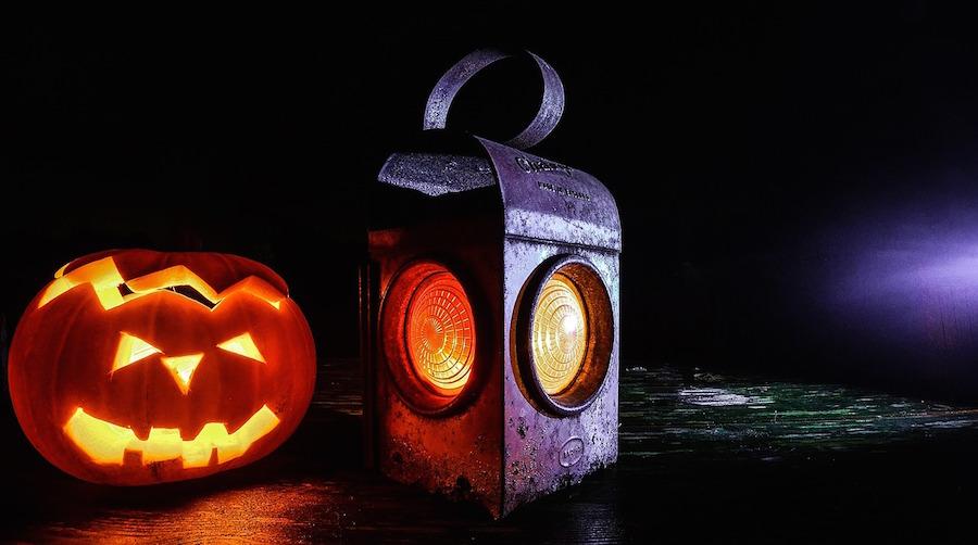 Scary halloween pumpkin and lantern