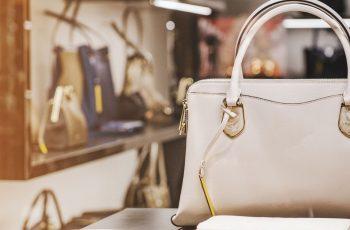 Luxury handbags in a shop window