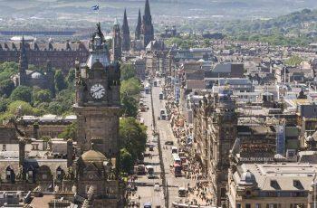 View of Princes Street Edinburgh from Calton Hill