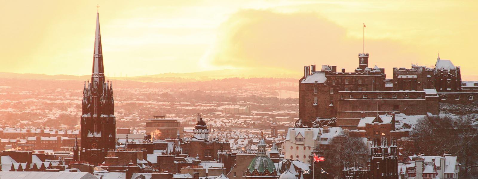 Edinburgh rooftops in a snowy winter