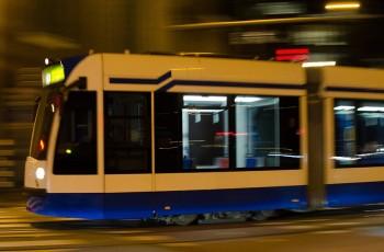 A photo of a tram