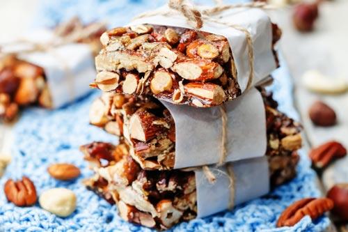 Vegan Nut Bars sold on market
