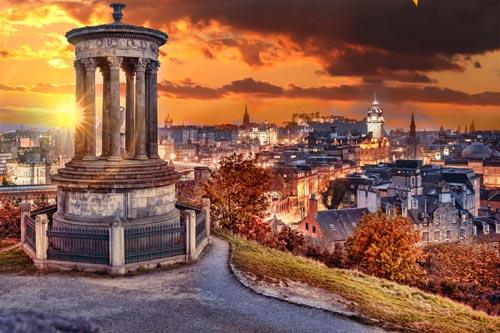 View of Edinburgh from Calton Hill in Autumn